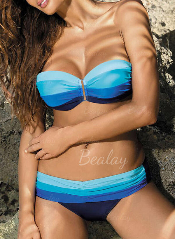 Rayures Patchwork Col Rond Classique Attrayant Bikinis Maillots De Bain