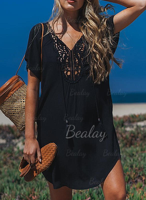 [€ 16 71] Solid Color V-neck Sexy Cover-ups Swimsuits - Bealay