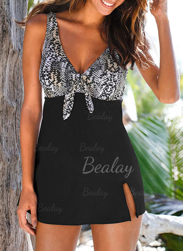 Imprimé Noué À Bretelles Col V Sexy Robes de bain Maillots De Bain