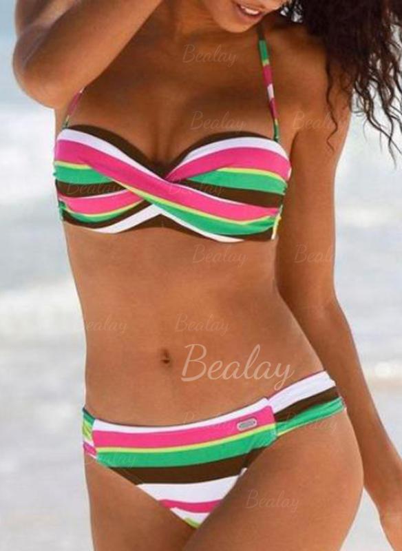 Rayures Traverser Dos Nu Sexy Bikinis Maillots De Bain