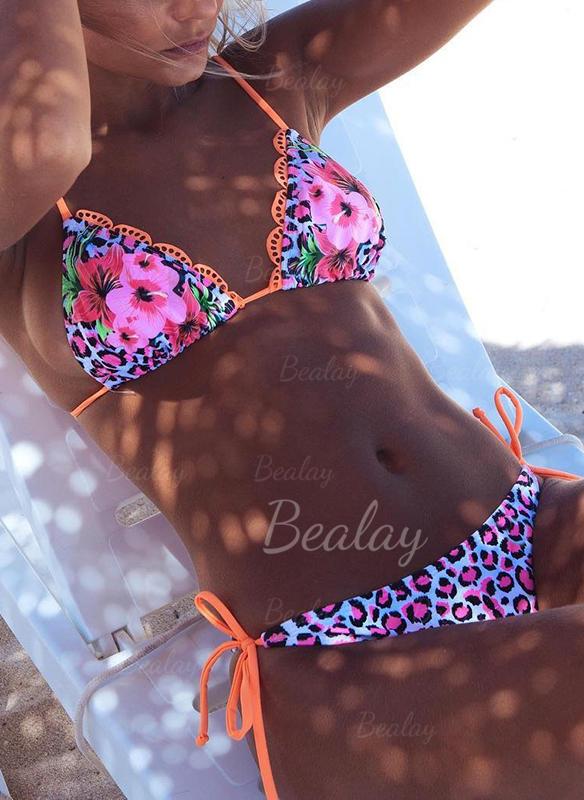 Blomster Thong Micro Halterudskæring Sexet Bikinier Badedragter