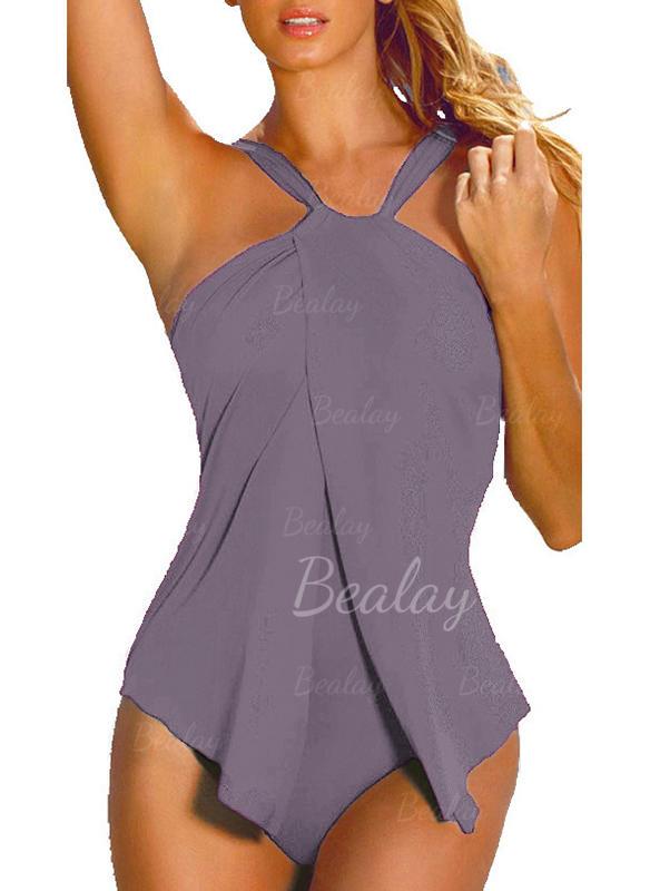Jednobarevné Ke krku Elegantní Plus mărimea Jednodílné Costume de baie