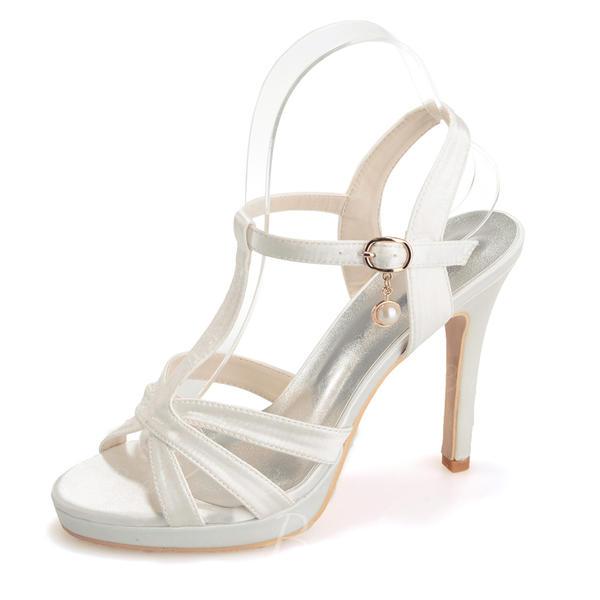 Kvinder Satin Stiletto Hæl Kigge Tå Platform sandaler med Spænde