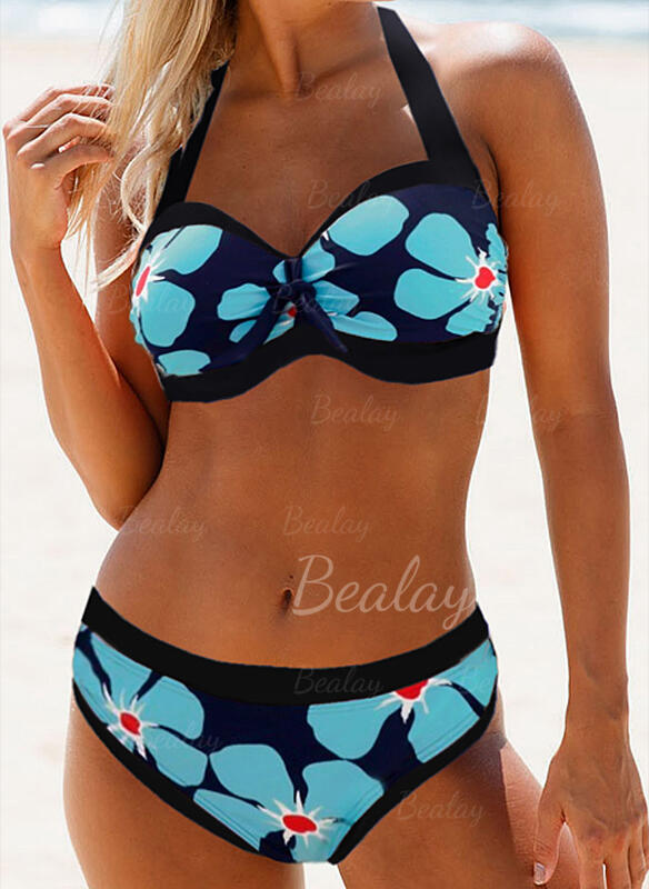 Fleuris Imprimé Dos Nu Sexy Bikinis Maillots De Bain