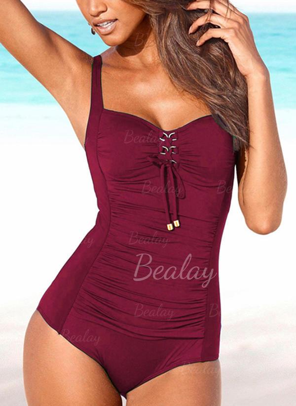 Jednobarevná Popruh Kulatý krk Sexy Plus velikost Jednodílné Plavky
