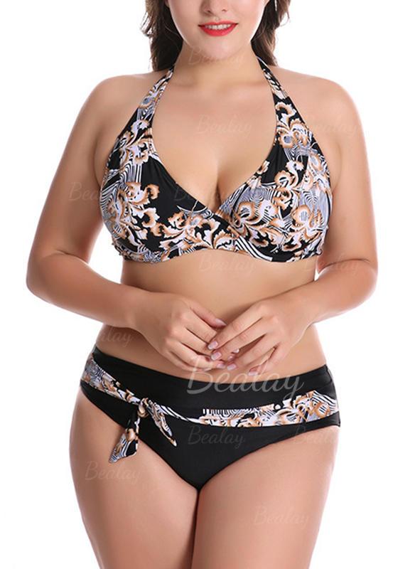 Barevný Ohlávka Sexy Plus velikost Bikiny Plavky