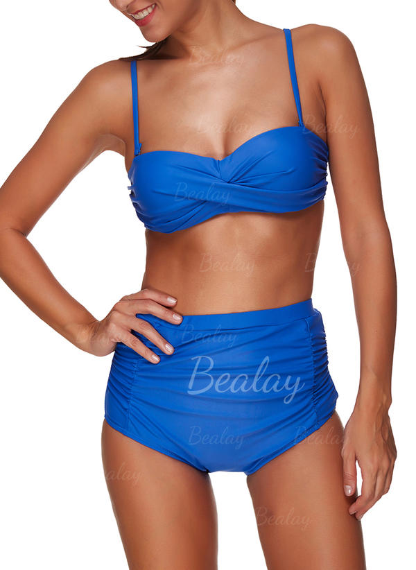 Solid farve Strop Sport Plus størrelse Bikinier Badedragter