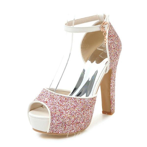 Kvinder Mousserende Glitter Stor Hæl sandaler Pumps Platform Kigge Tå med Spænde sko