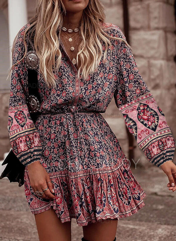 Print/Floral Long Sleeves A-line Above Knee Casual/Boho/Vacation Dresses