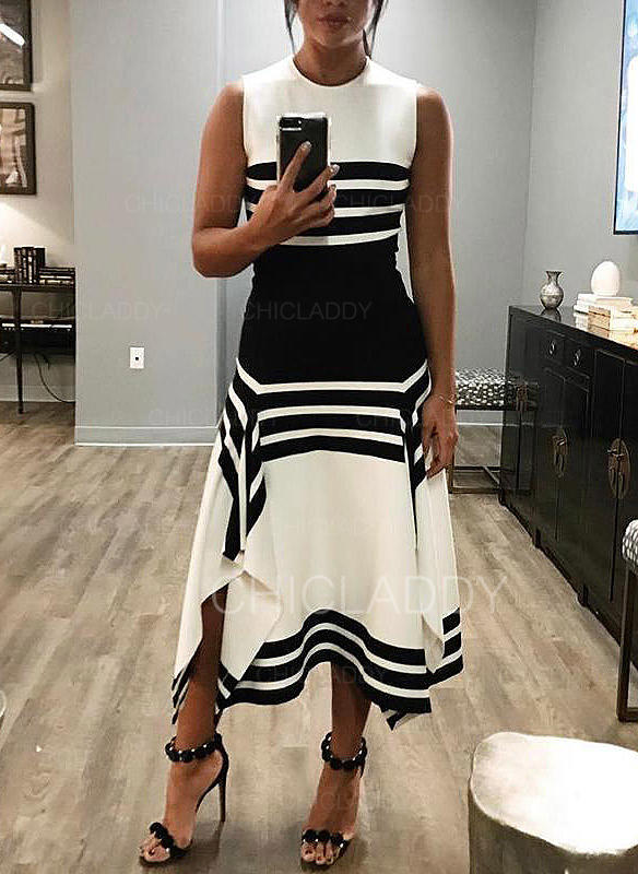 Striped Sleeveless A-line Asymmetrical Casual Dresses