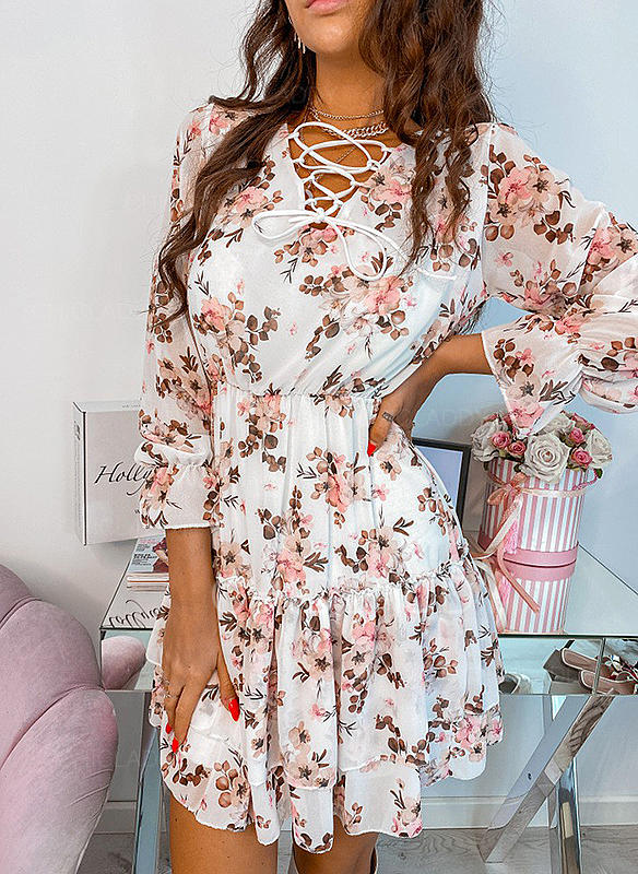 Floral/Solid Long Sleeves A-line Above Knee Casual/Elegant Dresses