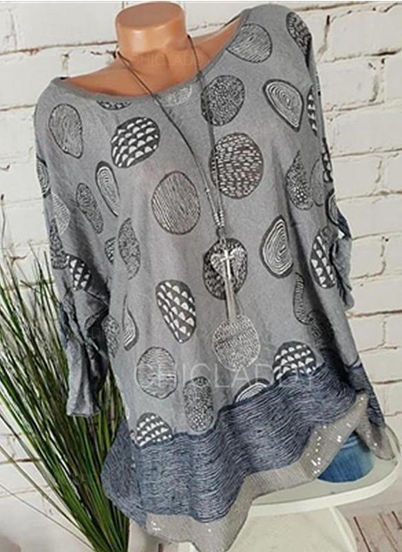 Impresión Cuello redondo Manga Larga Casual Elegante Camisetas