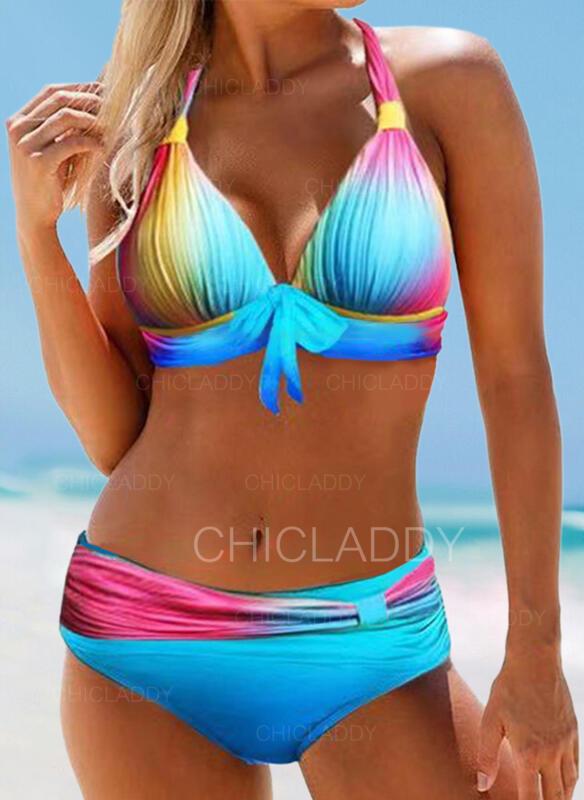 Imprimé Noué Dos Nu Grande taille Colorful Bikinis Maillots De Bain