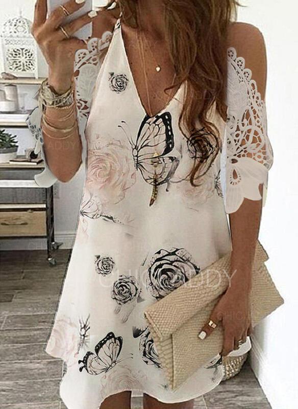 Encaje/Impresión/Floral Mangas 3/4/Top sin hombros Tendencia Sobre la Rodilla Casual/Elegante Vestidos