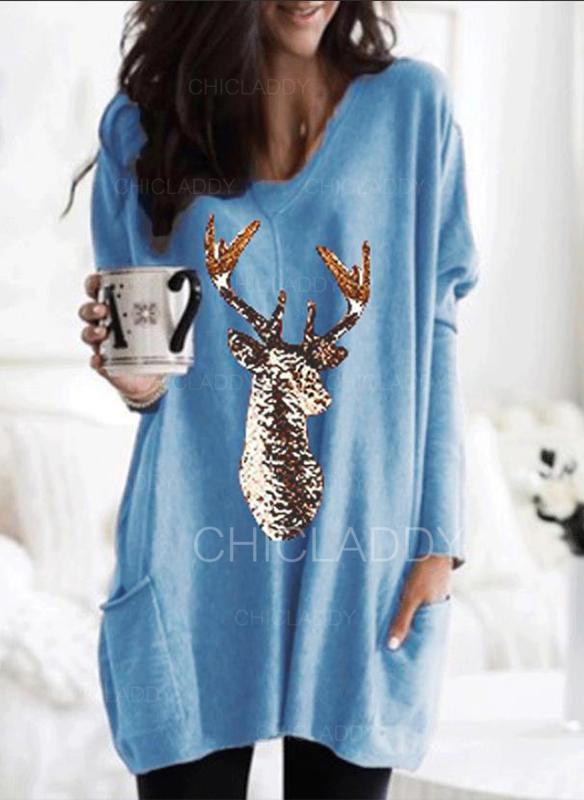 Print Sequins V-neck Long Sleeves Casual Christmas Knit T-shirts