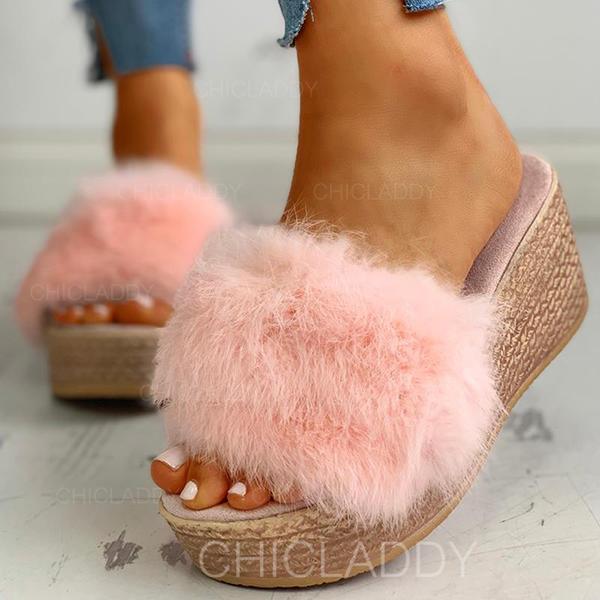 De mujer Tejido Tacón plano Sandalias Pantuflas con Piel zapatos