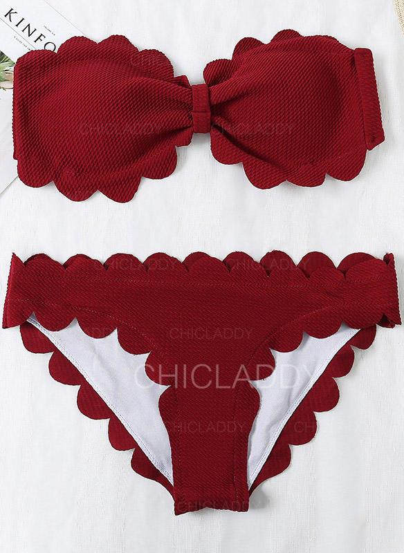 Effen kleur Strapless Strapless Sexy Schattig Bikini's Badpakken
