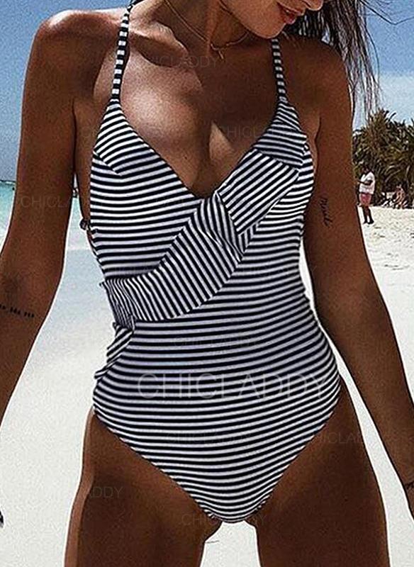 Raya Sin Mangas Cuello en V Sexy Una pieza Trajes de baño