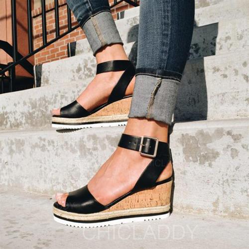Donna PU Zeppe Sandalo Zeppe Punta aperta con Fibbia scarpe