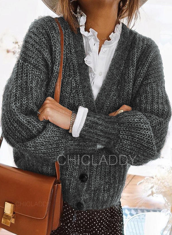 Polyester Long Sleeves Plain Chunky knit Cardigans