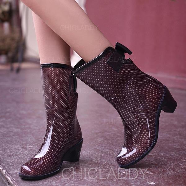 Donna PVC Tacco spesso Stivali Stivali altezza media Stivali da pioggia con Bowknot scarpe