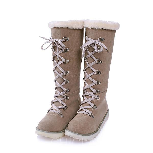 Vrouwen Suede Flat Heel Laarzen Snowboots met Vastrijgen schoenen