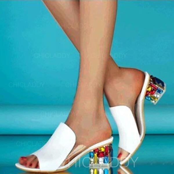 De mujer PU Tacón ancho Sandalias Encaje Pantuflas con Otros zapatos