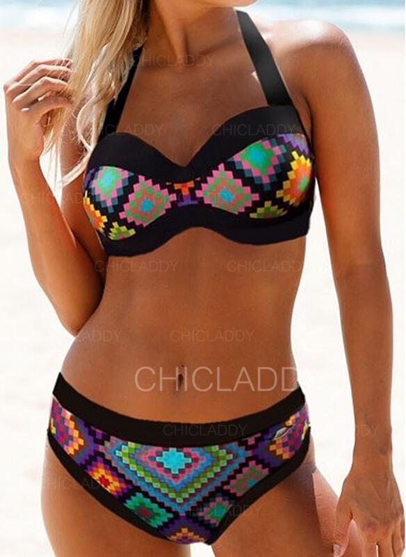 Imprimé Faire monter Dos Nu Vintage Boho Bikinis Maillots De Bain