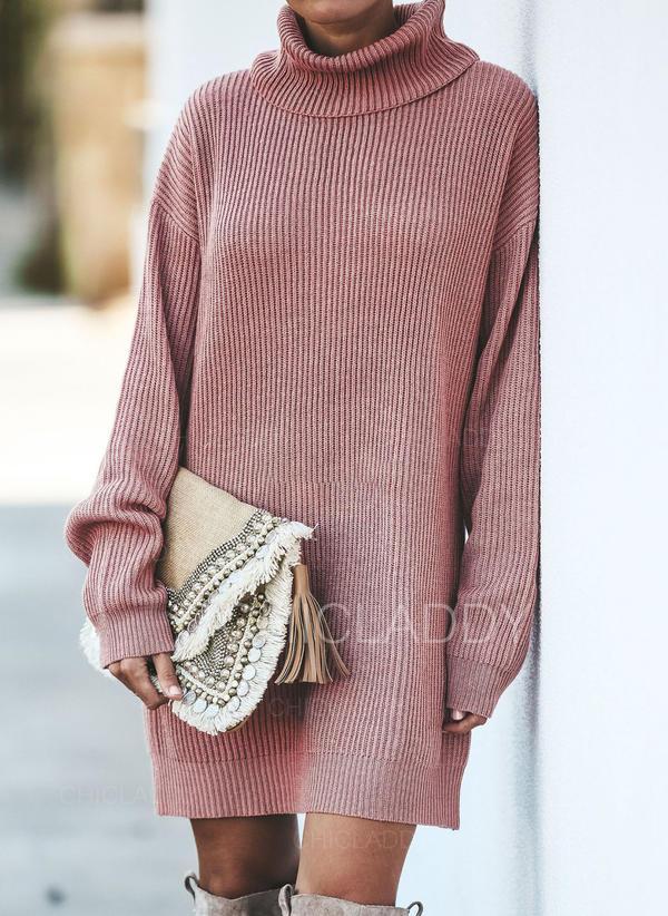 Jednolity Prążkowana dzianina Masywna dzianina Golf Sukienka sweterkowa