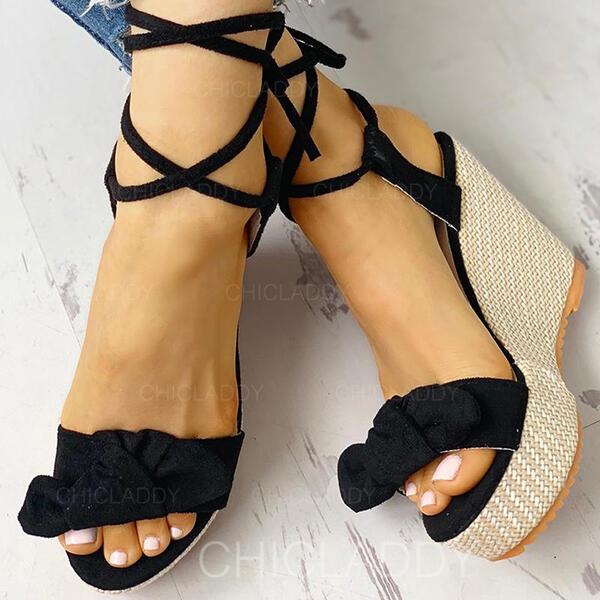 Bayanlar Süet Sivri topuk Sandalet Peep Toe Ile İlmek ayakkabı