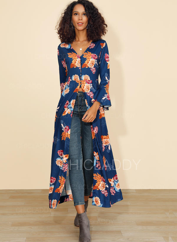 Print/Floral Long Sleeves A-line Midi Casual Dresses