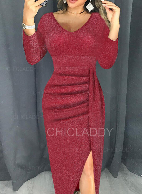 Sequins Long Sleeves Sheath Midi Casual Dresses