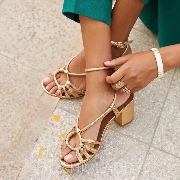 De mujer PU Tacón ancho Sandalias Encaje Solo correa zapatos