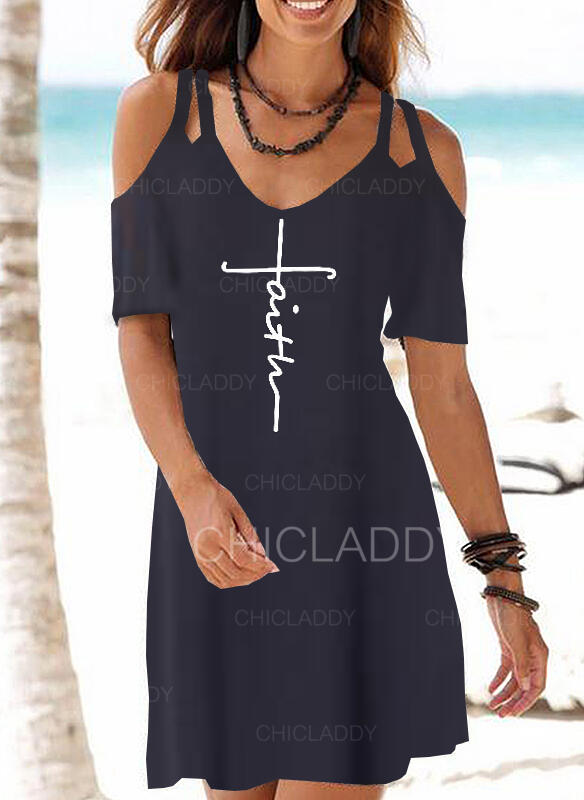 Impresión Top sin hombros Acampanado Sobre la Rodilla Casual/Bohemio/Vacaciones Vestidos