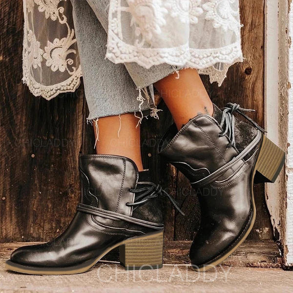 Women's PU Chunky Heel Martin Boots With Lace-up shoes