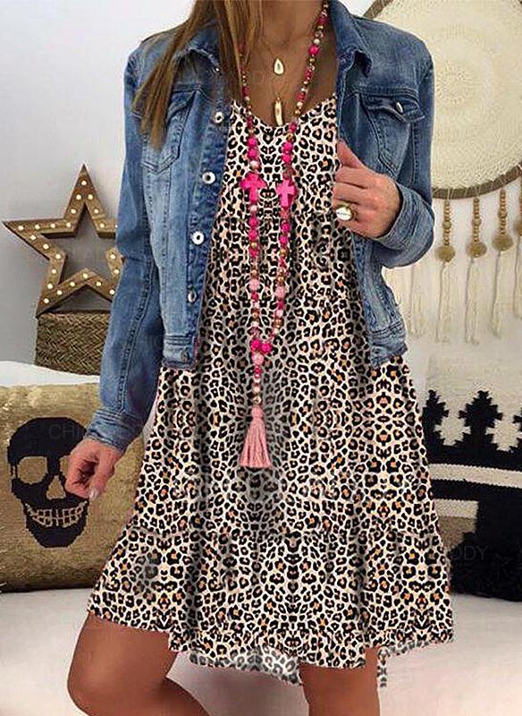 Leopardo Manga Larga Tendencia Hasta la Rodilla Casual Vestidos