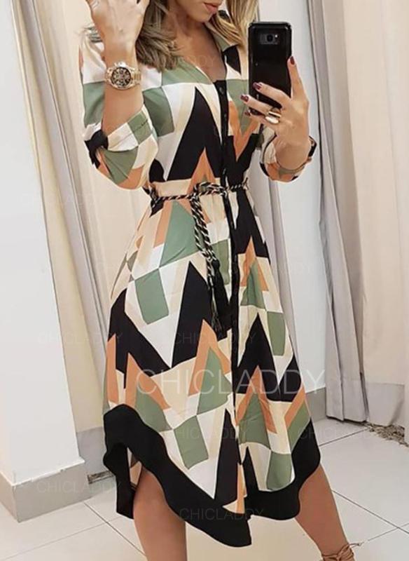 Nadruk geometryczny Rękawy 3/4 W kształcie litery A Asymetryczna Casual Sukienki