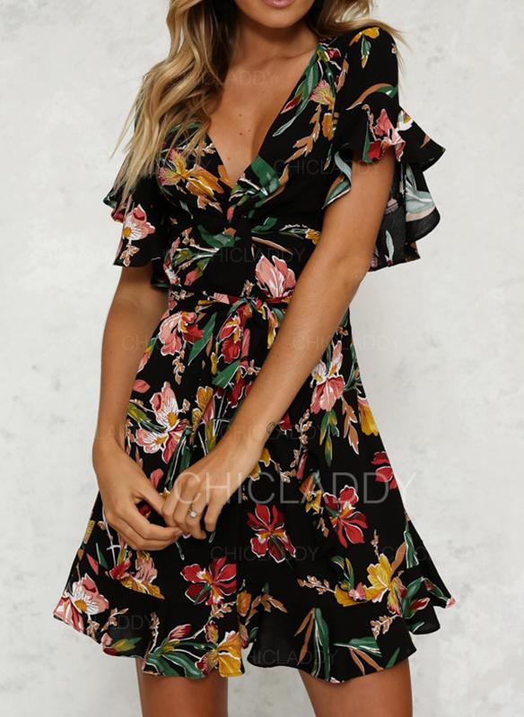 Nadrukowana/Kwiatowy Rozkloszowane rękawy W kształcie litery A Nad kolana Casual/Boho Sukienki