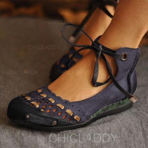De mujer PU Tacón plano Planos Cerrados con Agujereado zapatos