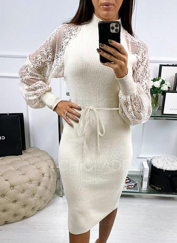 Lace/Solid Long Sleeves Bodycon Midi Casual Dresses