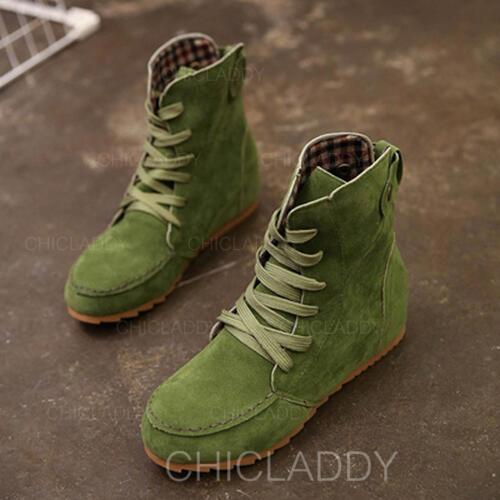 Femmes Tissu Talon plat Chaussures plates Bottes avec Dentelle chaussures