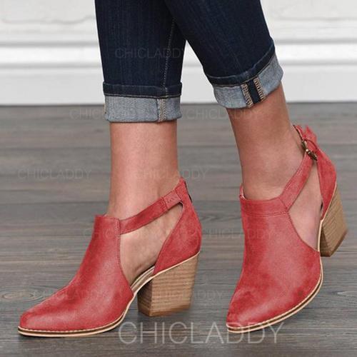 De mujer PU Tacón ancho Salón Cerrados con Hebilla zapatos