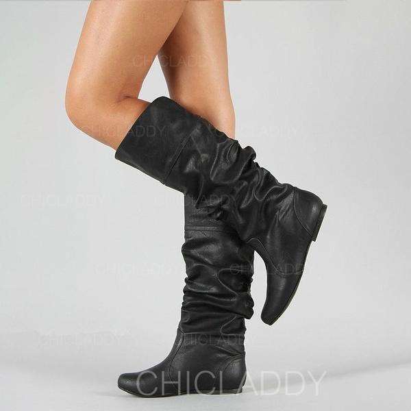 Dla kobiet PU Niski Obcas Kozaki do kolan Z Marszczenie obuwie