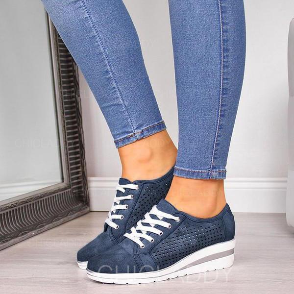 De mujer PU Tipo de tacón Cerrados Cuñas con Cordones zapatos