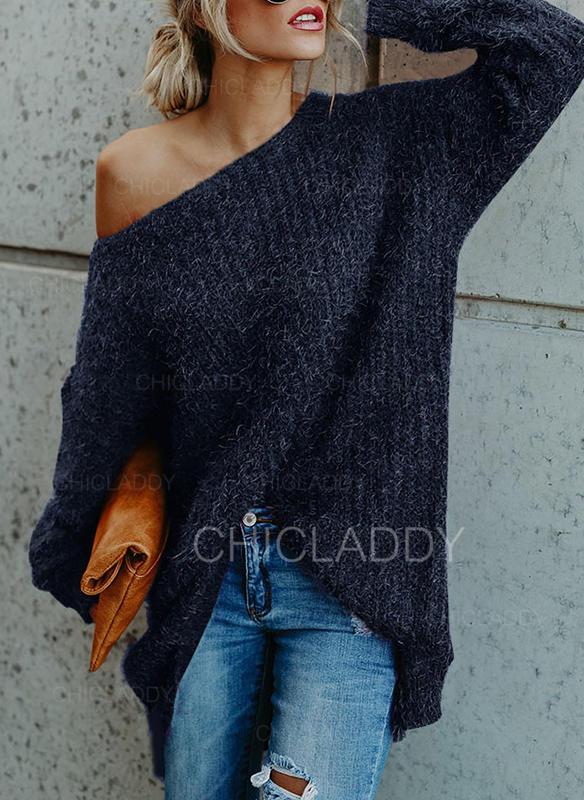 Sólido Un hombro Vestido de Suéter
