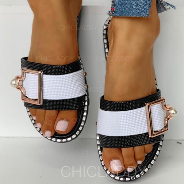 De mujer PVC Tacón plano Pantuflas con Hebilla zapatos