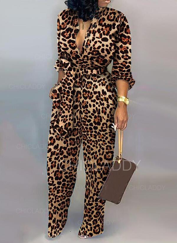 Leopardo Cuello en V Manga Larga Casual