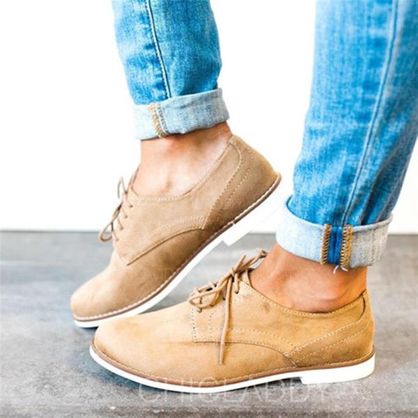 Hommes Suède Talon plat Chaussures plates avec Dentelle chaussures