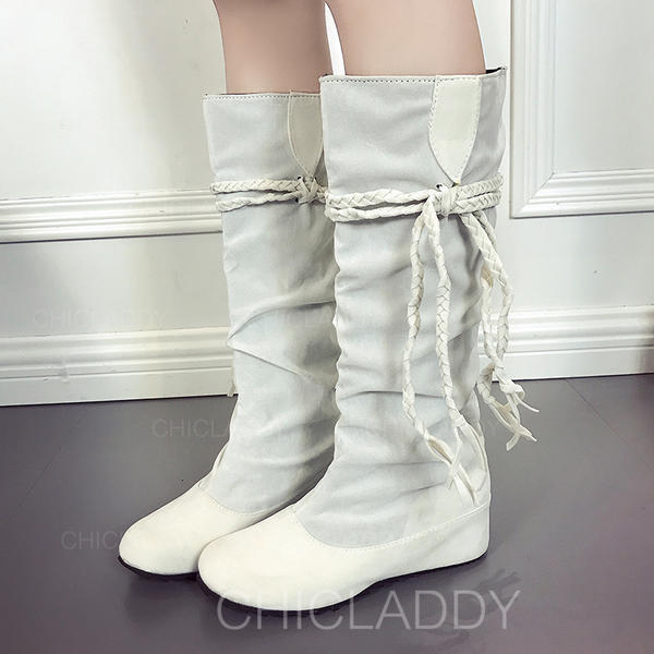 857173af1dd [US$ 16.99] Women's Suede Wedge Heel Platform Wedges Boots Knee High Boots  With Lace-up shoes - Chicladdy
