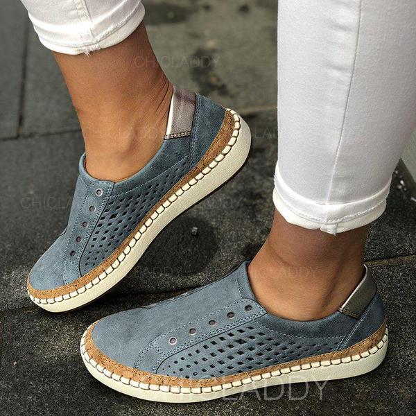 De mujer PU Tacón plano Planos con Agujereado zapatos